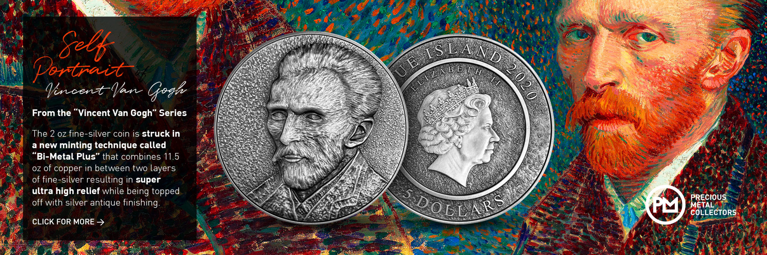 Self Portrait of Vincent Van Gogh 2 oz Silver Coin